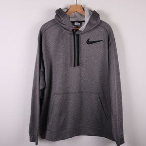NIKE Gray Fitted Hoodie Classic Chest Swoosh